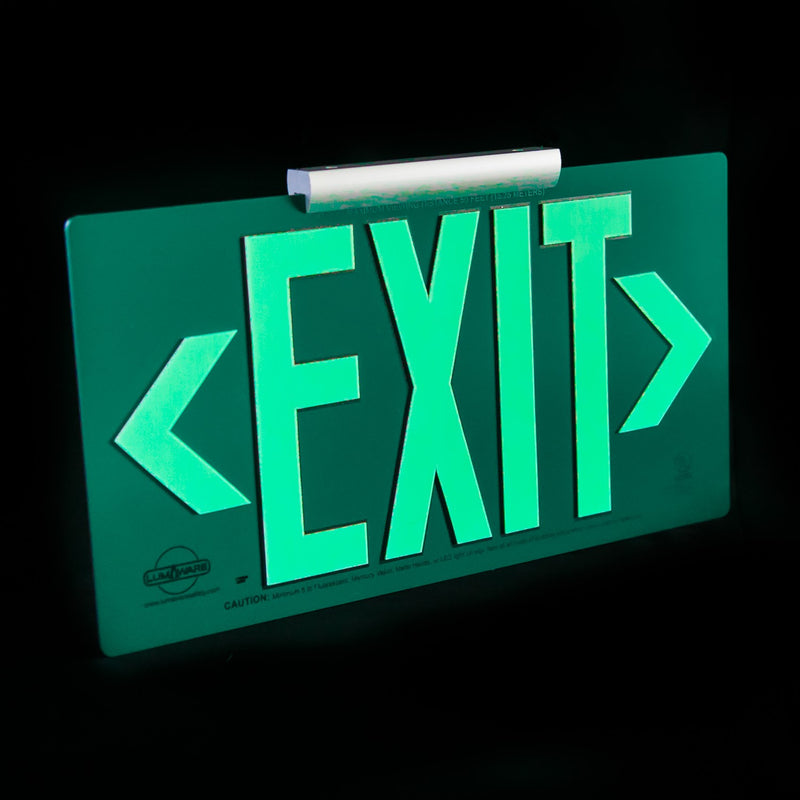 Green Poly-Metal Emergency Exit Sign, LED compliant exit sign, Alternative exit signs, energy free exit signs, Photoluminescent Exit Signs, Electric Sign Alternative, UL924 Emergency Exit Sign, Electric Exit Signs