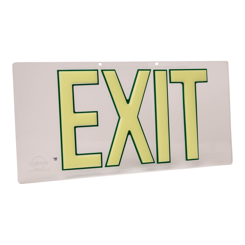Clear Lucite Emergency Exit Sign, LED compliant exit sign, Alternative exit signs, energy free exit signs, Photoluminescent Exit Signs, Electric Sign Alternative, UL924 Emergency Exit Sign, Electric Exit Signs