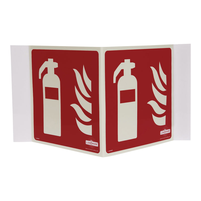 Illuminating Fire Extinguisher Panoramic Sign, Highly Durable rigid PVC Illuminating Fire Extinguisher Panoramic Sign, Safety Markings, Egress and Stairwell Solutions, Safety Information in Blackout
