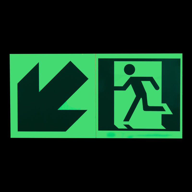 Running Man Exit Sign, Green Reflective Arrow, Running-Man Sign, Right Running Man Exit Sign, Left Running Man Exit Sign,Diagonal Running Man Exit Sign, Safety Markings, Egress and Stairwell Solutions