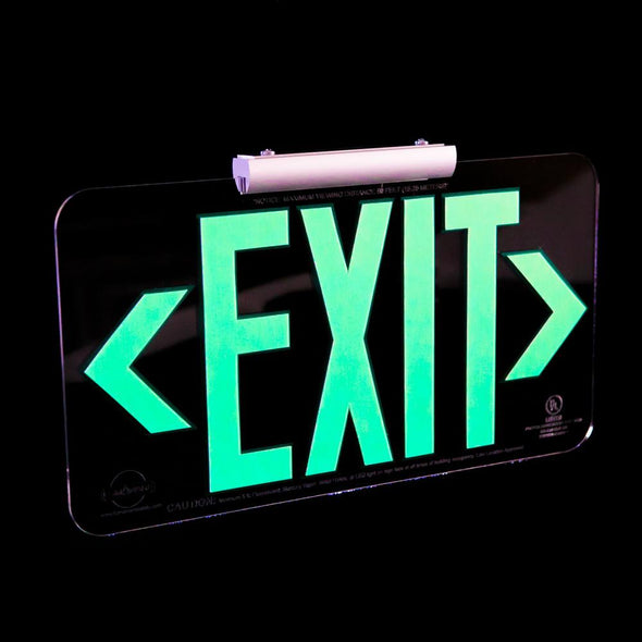 Patented UL Listed Clear Lucite Photoluminescent UL924 Emergency Exit Sign (LED Lighting Compliant) Mounting Kit Included