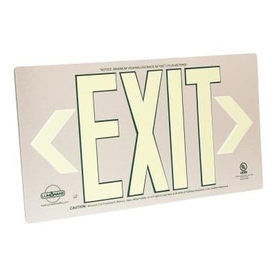 Brushed Metal Aluminum 50' Visibility 5 fc Rated Energy-Free Photo-luminescent UL924 Emergency Exit Sign LED Lighting Compliant