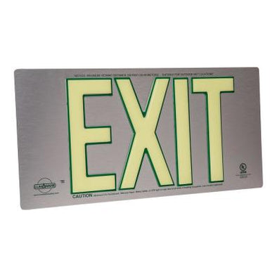 Brushed Metal Aluminum 100' Visibility 5 fc Rated Energy-Free Photo-luminescent UL924 Emergency Exit Sign LED Lighting Compliant