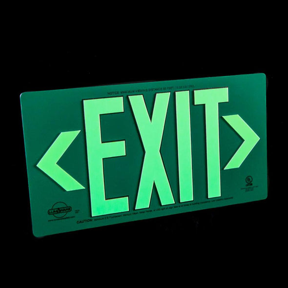 Green Metal Aluminum Energy-Free Photoluminescent UL924 Emergency Exit Sign with LED Lighting Compliant