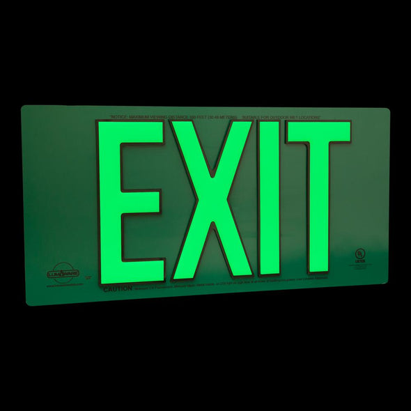 UL Listed PolyMetal Green Photoluminescent Emergency Exit Sign