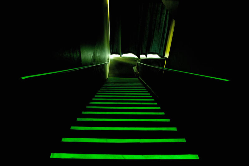 Illuminating Epoxy Delivery System for Stair Edge, luminous stairwell stair edges, Best solution for NFPA Code Approved luminous Stairwell, Best solution for NFPA Code Approved luminous Stair edge, Floor Marker, Egress and Stairwell Solutions