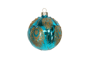 Clear Turquoise Glass Ball with Gold Peacock Feathers