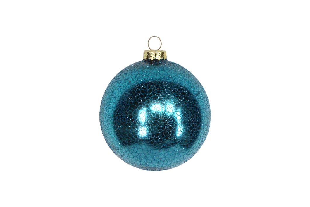 Crackle Glazed Dark Turquoise Ball