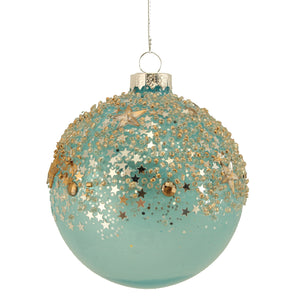 Blue Opaque Glass Ball with Gold Stars Toppings