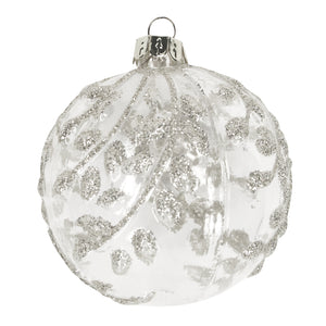 Clear Ball with Pale Silver Glitter Vine/Leaf