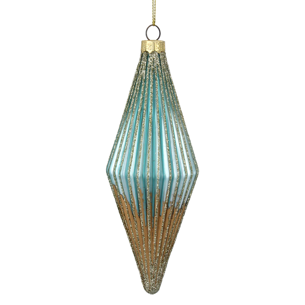 Turquoise and Gold Ribbed Glass Teardrop