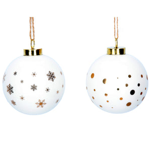 White Ceramic Ball with Gold Spots & Stars