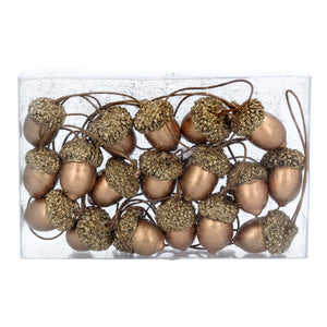 Copper Wood Acorn Decorations
