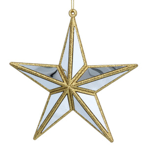 Gold Acrylic, Silver Mirror Star Decoration