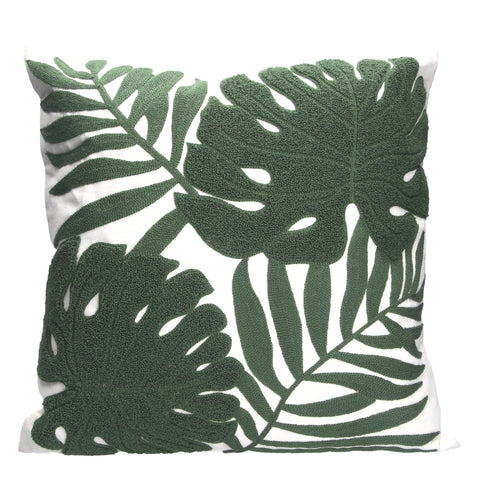 Dark Green Crewel Work Leaves Cushion w Insert