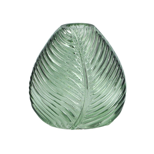 Green Leaf Impression Glass Vase