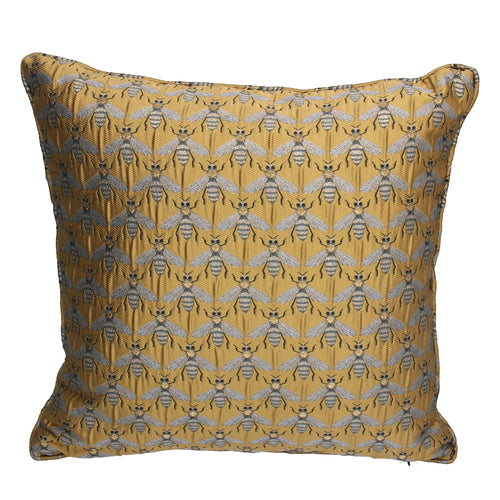 Gold Bee Jacquard Cushion with Insert