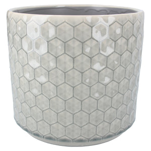 Grey Honeycomb Ceramic Pot Cover