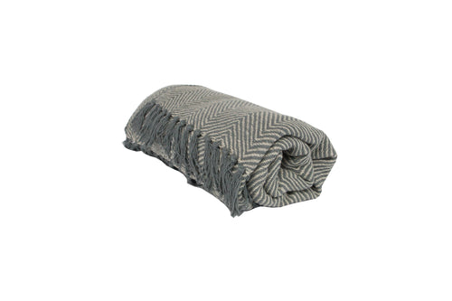 Light Grey Chevron Woven Throw