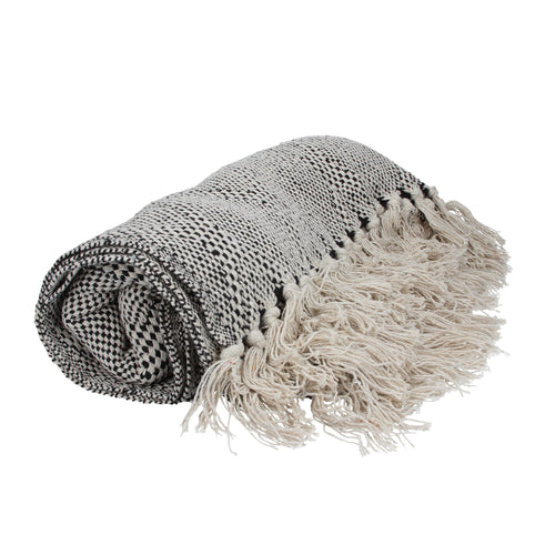 Black/Natural Diamond Woven Throw