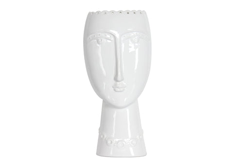 White Ceramic Lady Vase