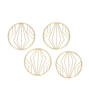 Gold Metal Geo Round Coaster Pack of 4