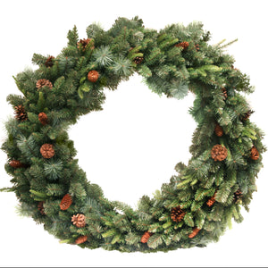 Giant 1.1m Green Fir Wreath with Cones