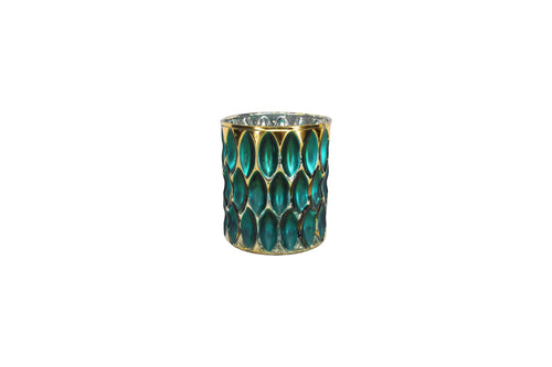 Turquoise and Gold Dimpled Glass Nite Lite Pot