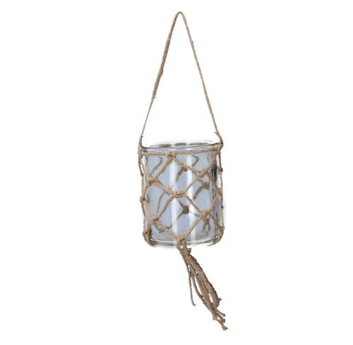 Clear Glass w Jute Hanging T-Lite Holder