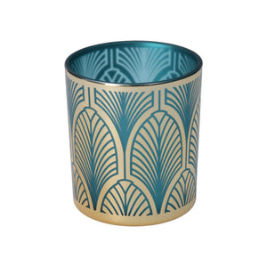 Turquoise and Gold Deco Design Glass Nite Lite
