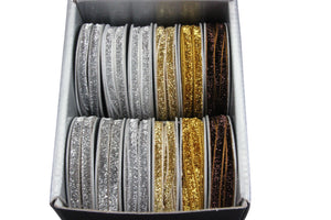 Silver/Gold/Choc Lurex Ribbon