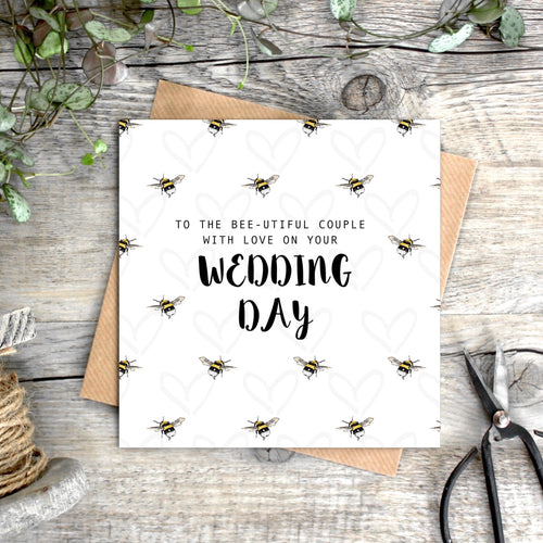 Bee-utiful Couple with Love on Your Wedding Day Card