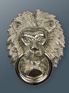 Brass Lion Door Knocker - Nickel Finish