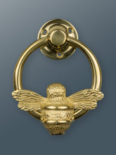 Load image into Gallery viewer, Brass Bumble Bee Ring Door Knocker - Brass Finish