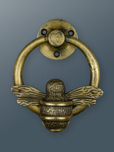 Load image into Gallery viewer, Brass Bumble Bee Ring Door Knocker - Heritage Brass Finish