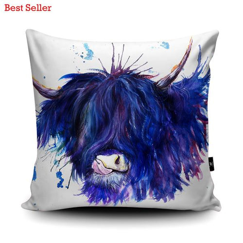 'Splatter Highland Cow' Cushion