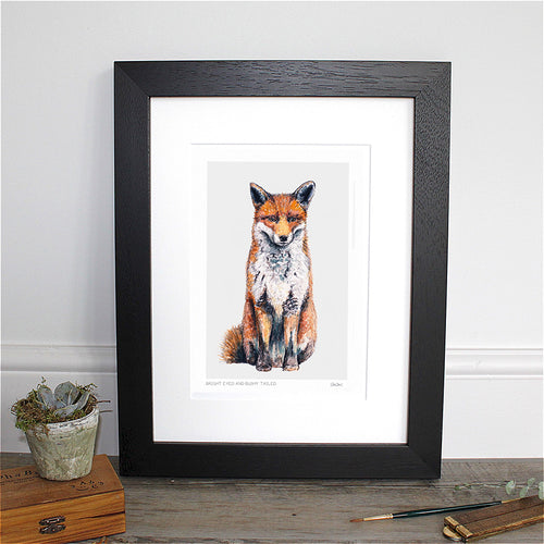 Bright Eyed and Bushy Tailed (Fox) 12×16″ Mounted Fine Art Print
