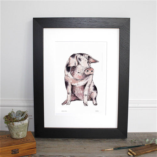 Miss Pig 12×16″ Mounted Fine Art Print
