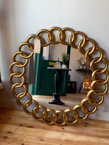 Antique Gold Leaf Interlocking 'Loop' Mirror
