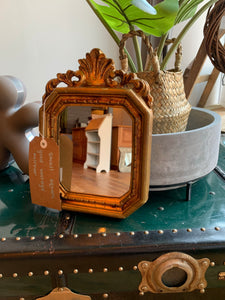 Small Square Vintage Gold Mirror