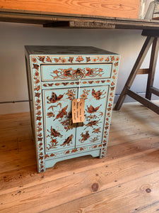 Teal Chinese Style Bedside Cabinet with a Drawer