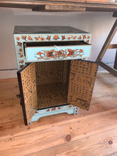 Load image into Gallery viewer, Teal Chinese Style Bedside Cabinet with a Drawer