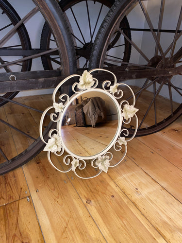 Leaves & Scrolls Cream Convex Mirror