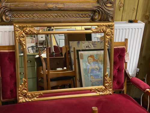 Heavy Unusual Vintage Gold Mirror with Leaf Shaped Corner Mouldings