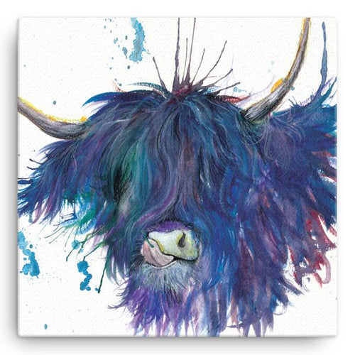 'Splatter Highland Cow' Large Canvas