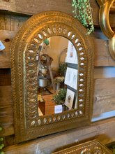 Load image into Gallery viewer, Small Gold Arched Mirror with Eyelet Cut-out Detailing