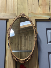 Load image into Gallery viewer, Heavy Brass Vintage Oval Intricate Mirror