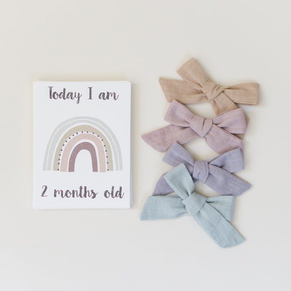Minimalist rainbow milestone monthly cards and soft vintage baby bows for girls