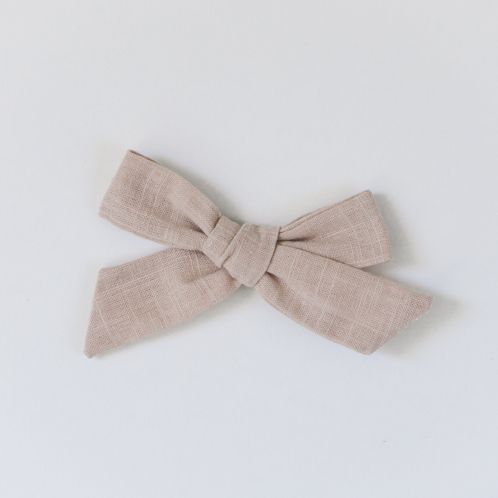 Natural beige brown baby linen bow on nylon headband or alligator clip for newborn babies to toddlers