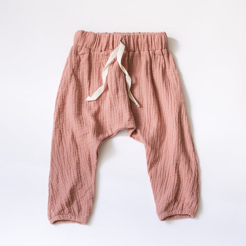 Everyday Muslin Play Pants - Desert Rose